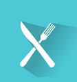 crossed fork and knife icon vector image vector image