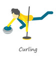 curling icon isometric style vector image vector image