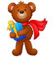 cute bear holding gift box vector image vector image