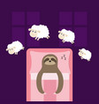 cute sloth sleeping sign zzz jumping sheeps cant vector image
