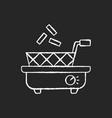 deep fryer chalk white icon on black background vector image