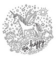 doodle unicorn be happy vector image vector image