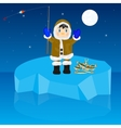 Fisherman on block of ice vector image vector image