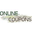 free online coupons text background word cloud vector image vector image