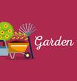 garden banner potted tree flower pitchfork vector image