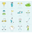 golf icons flat line vector image