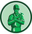 Green Builder Holding Hammer Circle Retro vector image vector image