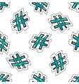 hand drawn cartoon hashtag symbol seamless pattern vector image
