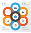 job flat icons set collection of hierarchy group vector image vector image