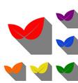 leaf sign set of red orange yellow vector image