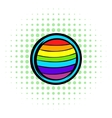 LGBT colors on button shape icon comics style vector image vector image