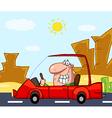 Man Driving His Red Car On A Desert Road vector image vector image