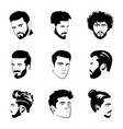 men portraits icons vector image vector image