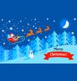 merry christmas santa sleigh concept banner flat vector image