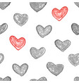 monochrome and red heart seamless background vector image vector image