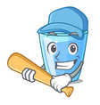 playing baseball character glass of water for vector image