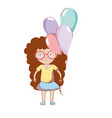 pretty girl with balloons and glasses vector image vector image