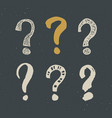 questions marks doodle set hand drawn grunge signs vector image vector image