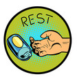 rest with a can of beer vector image vector image