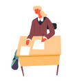 school girl writing in paper exam or homework vector image vector image