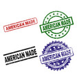 scratched textured american made stamp seals vector image vector image