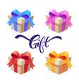 set cartoon realistic shiny gift boxes vector image vector image