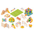 set isolated playground elementsisometric view vector image
