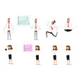 set of cartoon business woman showing different vector image vector image