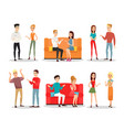 set people fighting and vector image vector image