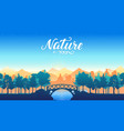 silhouette bridge in the park through the lake ar vector image vector image