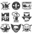 street fighting black white labels vector image vector image