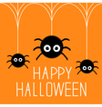 Three cute hanging fluffy spiders Happy Halloween vector image vector image