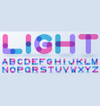 Transparent blue and pink alphabet