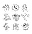 viruses and bacteria linear characters set vector image