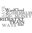 ways to save money on train rides text word cloud vector image vector image
