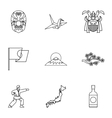 Attractions of Japan icons set outline style vector image vector image