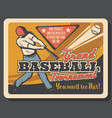 baseball sport match invitation batter player vector image