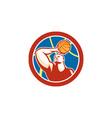 Basketball Player Shooting Ball Circle Retro vector image vector image