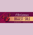 beautiful christmas sale banner with shiny balls vector image