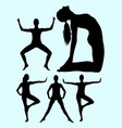 beautiful woman doing exercise silhouette 02 vector image vector image