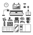 Bedroom Furniture Icons Set vector image vector image