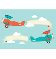 Biplane in the clouds vector image vector image
