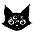 black cat head with many eyes vector image
