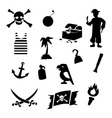 black pirates icons set on gray background vector image