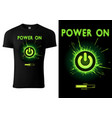black t-shirt design green power button vector image