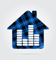 blue black tartan isolated - house with equalizer vector image vector image