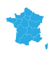 blue map of france divided into 13 administrative vector image vector image