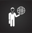 businessman runs world on black background vector image