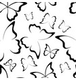 butterfly seamless pattern black and white vector image vector image