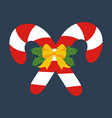 candy cane decorated with bow vector image vector image